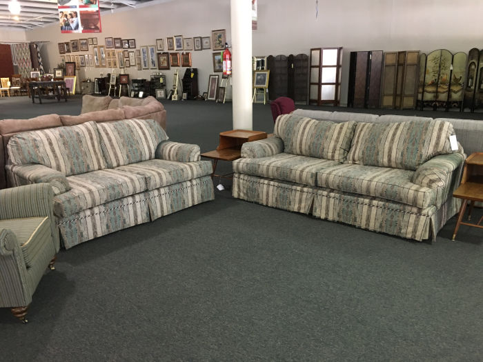 Striped Sofa & Loveseat