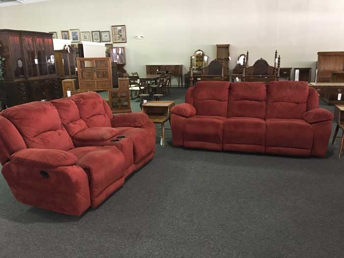 Red Sofa & Console Loveseat