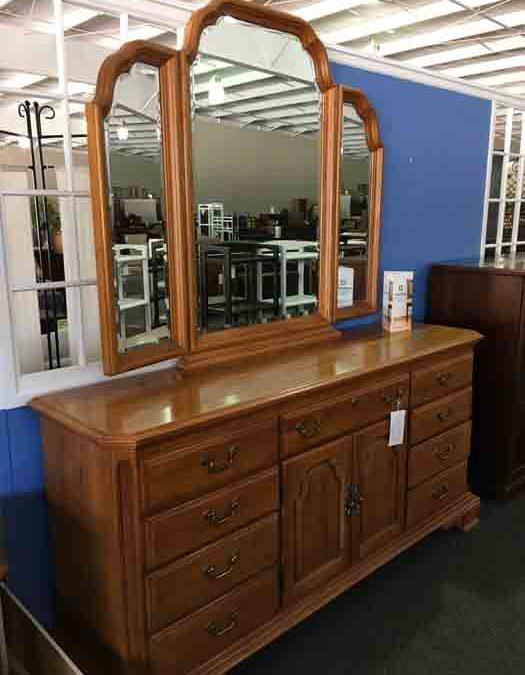 Oak Dresser & Bi-fold Mirror